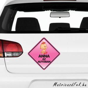 baba az autóban matrica saját névvel (kislány)