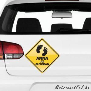 Baba az autóban matrica saját névvel