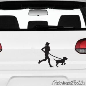 futás kutyával matrica